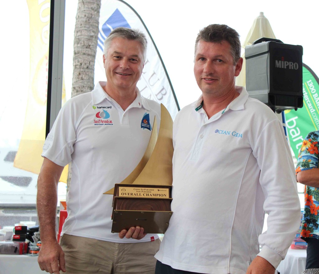 Bartercard Chief Executive Officer Clive van Deventer and OCEAN GEM owner & skipper David Hows, 2016 Bartercard Coffs to Paradise and Bartercard Sail Paradise Overall Champion