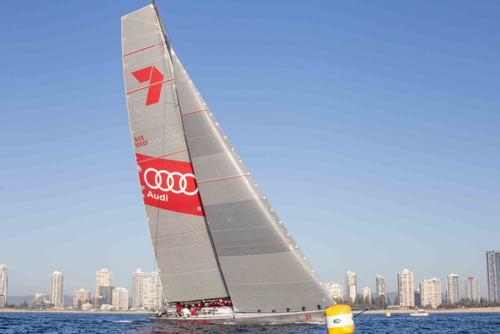 Wild Oats XI crossing the finish line at the 2017 Land Rover Sydney Gold Coast Yacht Race